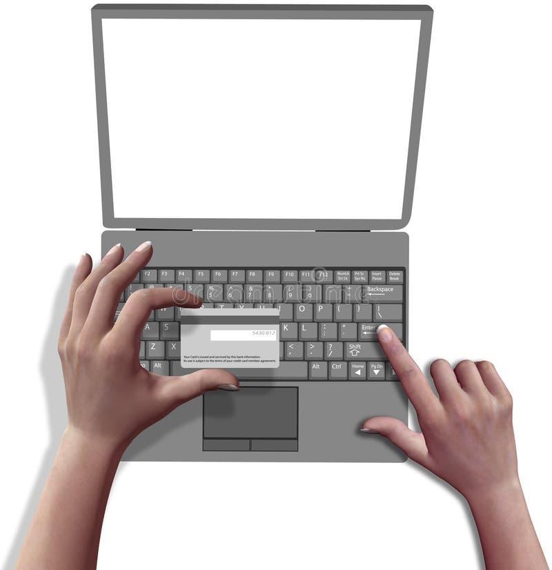 Ordenador portátil de la tarjeta de crédito en línea del departamento de las manos stock de ilustración