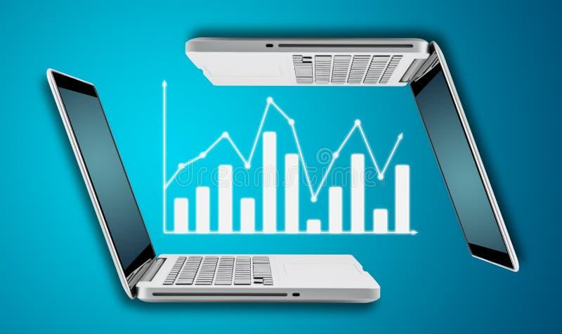 Ordenador portátil de la tecnología con la carta de las divisas de las finanzas del gráfico imagenes de archivo