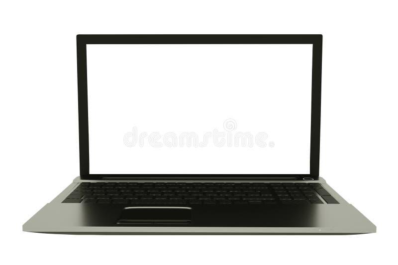 Ordenador port?til de plata con la pantalla de ordenador en blanco Mofa de la vista delantera para arriba ilustraci?n 3D libre illustration