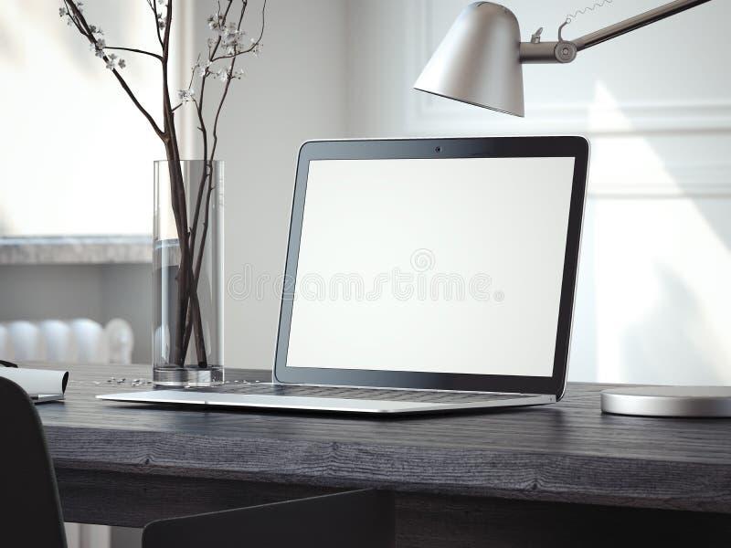 Ordenador portátil de plata en la tabla negra representación 3d stock de ilustración