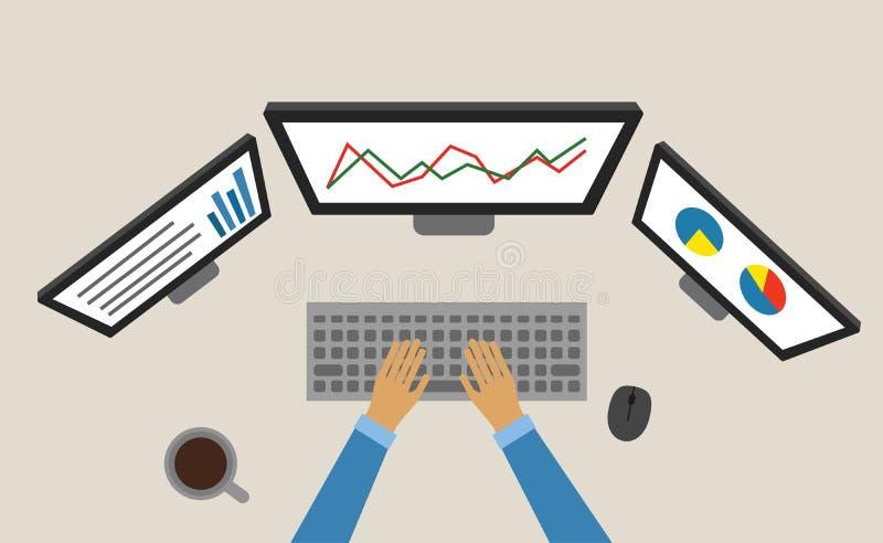 Ordenador portátil de trabajo de la carta de negocio Estudio de mercado trading fotografía de archivo libre de regalías