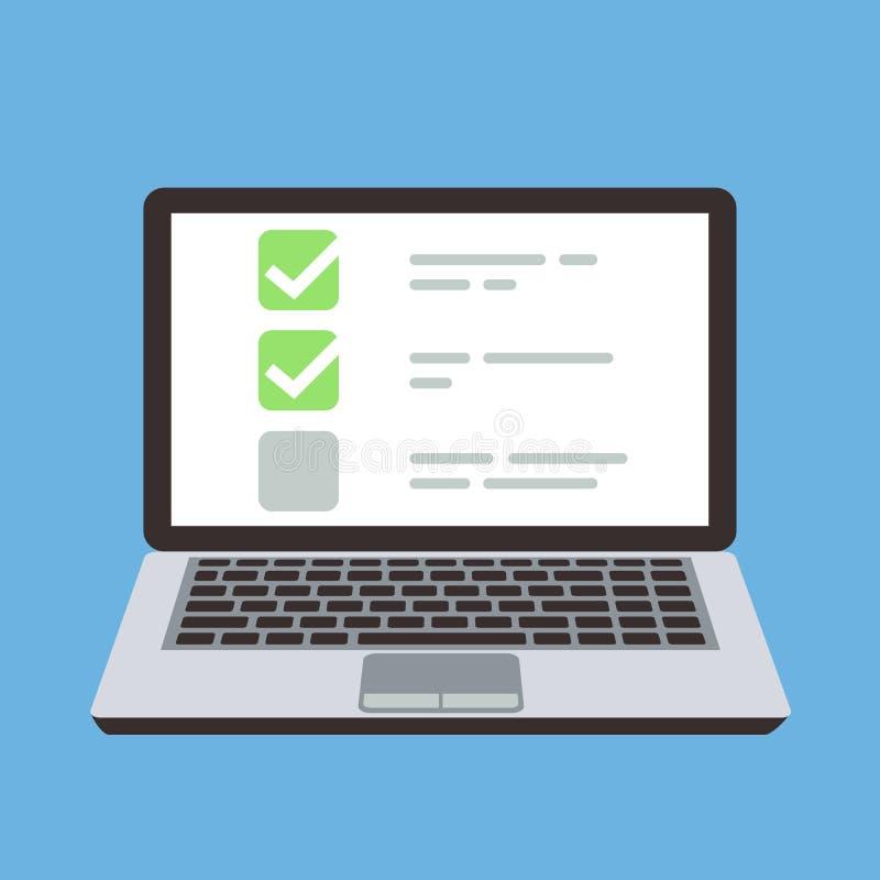 Ordenador portátil del ordenador con la lista de control en línea de la forma del concurso en la pantalla Concepto de la historie stock de ilustración