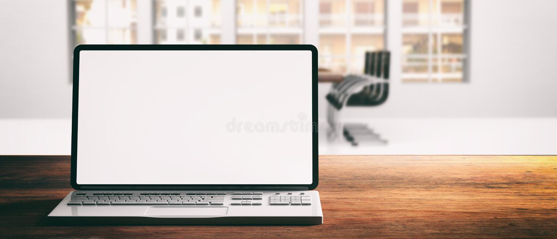 Ordenador portátil del ordenador con la pantalla en blanco, en un escritorio de madera, fondo de la oficina de la falta de defini ilustración del vector