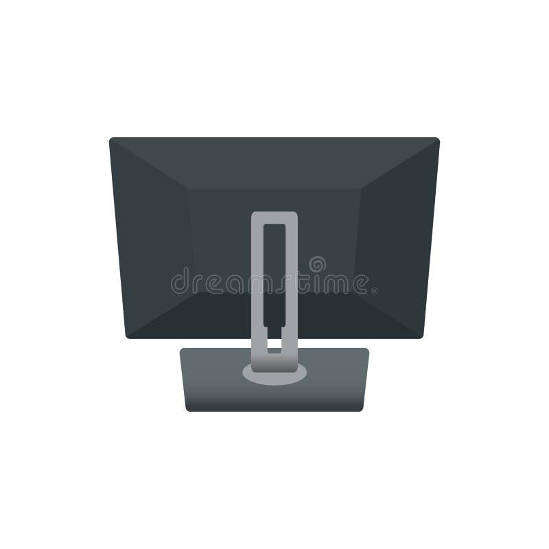 Ordenador portátil del cuaderno del monitor de computadora, parte trasera de la televisión Ejemplo del vector del icono En el fon libre illustration