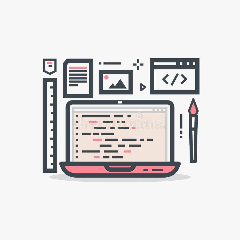 Ordenador portátil del diseño web ilustración del vector