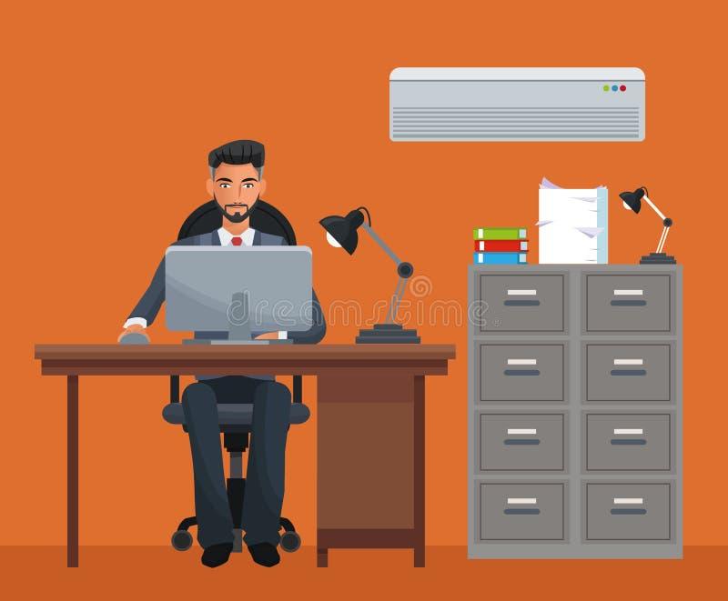 Ordenador portátil del escritorio del fichero del gabinete del lugar de trabajo del hombre que se sienta ilustración del vector