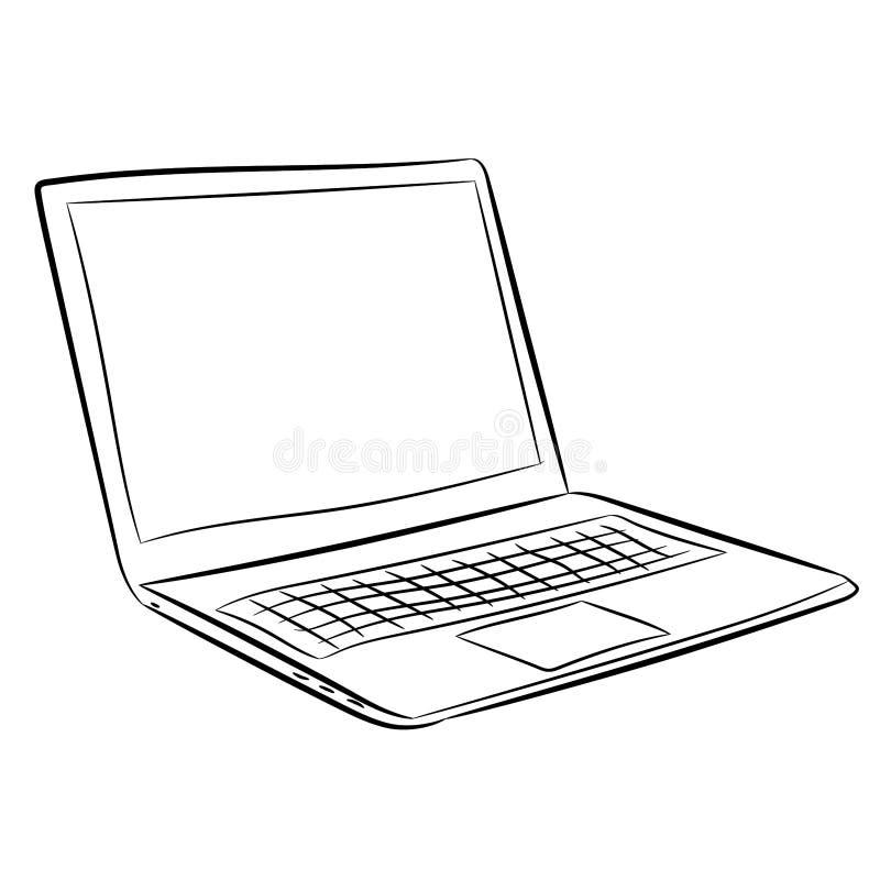 ordenador port u00e1til del negro del contorno del vector