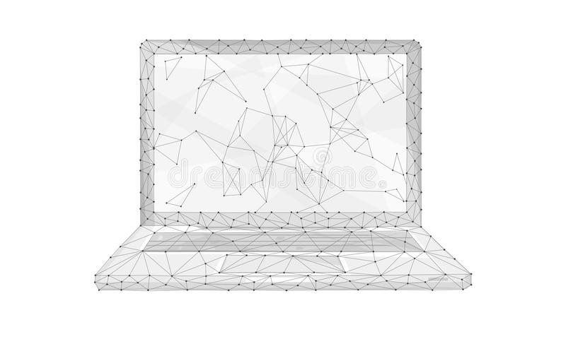 Ordenador portátil del polígono aislado en el fondo blanco ilustración del vector