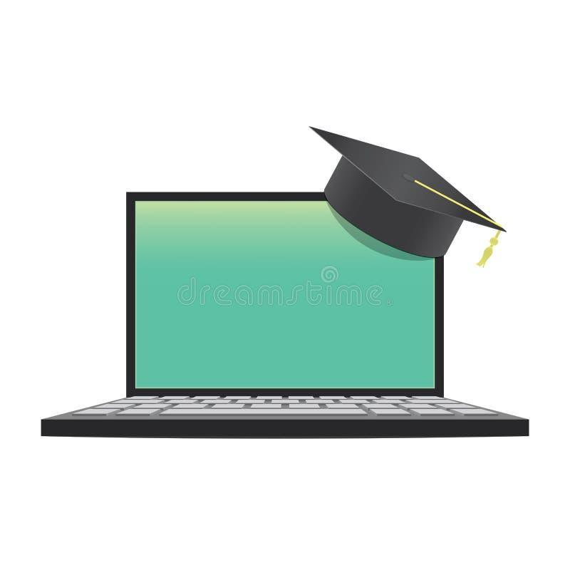 Ordenador portátil en blanco con el aprendizaje malo del sombrero de la graduación con un en línea ilustración del vector