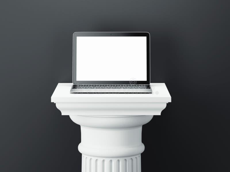 Ordenador portátil en el colum blanco aislado en fondo oscuro representación 3d ilustración del vector