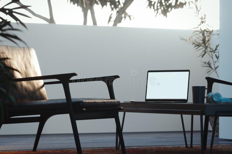 Ordenador portátil en la tabla de madera en interior acogedor del sitio lugar de trabajo acogedor, representación 3d ilustración del vector
