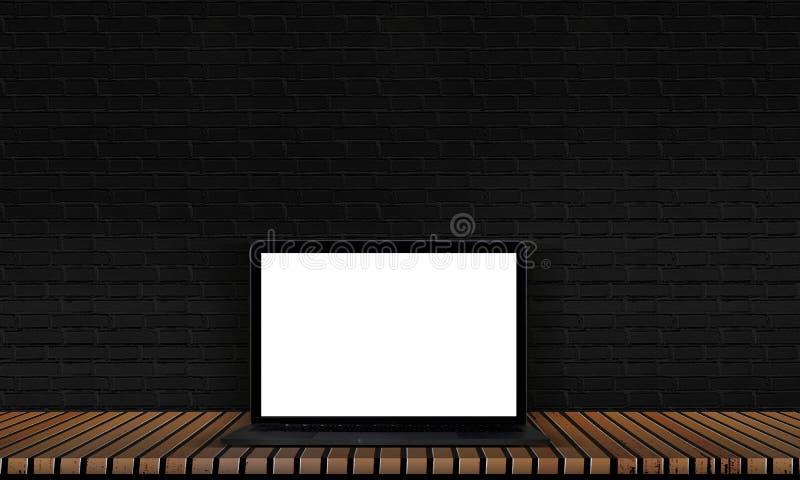 Ordenador portátil en un piso de madera con los pisos negros del ladrillo y madera sólida para la decoración interior libre illustration