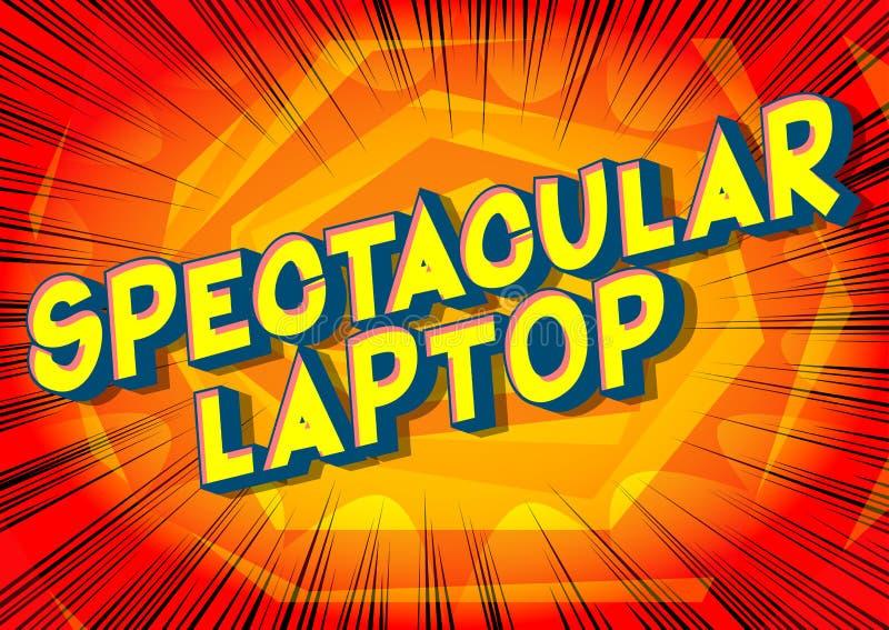 Ordenador portátil espectacular - palabras del estilo del cómic ilustración del vector