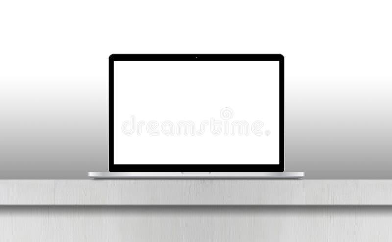 Ordenador portátil gris con la pantalla en blanco en el escritorio ilustración del vector