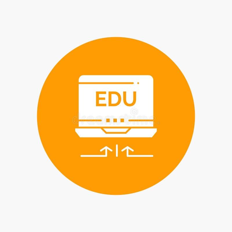 Ordenador portátil, hardware, flecha, icono blanco del glyph de la educación libre illustration