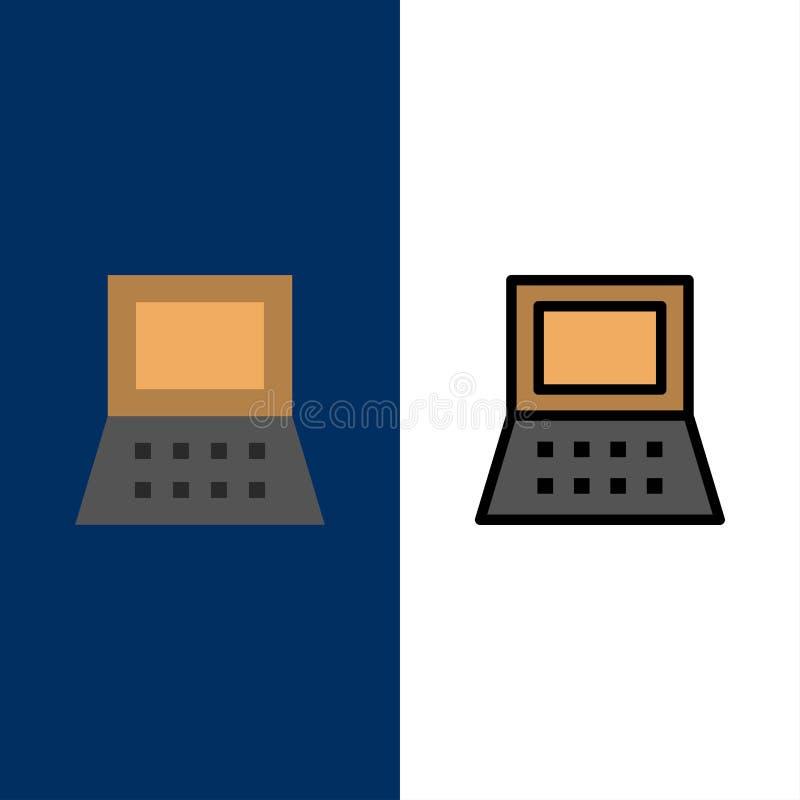 Ordenador portátil, ordenador, iconos del hardware El plano y la línea icono llenado fijaron el fondo azul del vector stock de ilustración