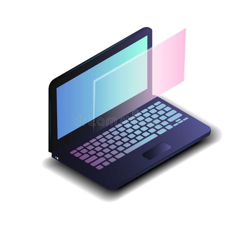 Ordenador portátil isométrico con la pantalla azul de la pendiente aislada en el fondo blanco Ordenador portátil moderno realista stock de ilustración