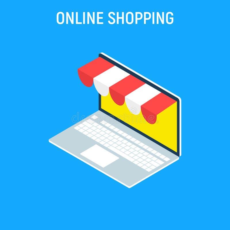 Ordenador portátil isométrico del concepto de las compras en línea Elementos gráficos del diseño plano, muestras, símbolos, línea stock de ilustración