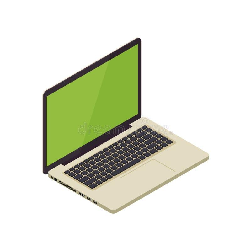 Ordenador portátil isométrico del cuaderno del vector del oro ilustración del vector