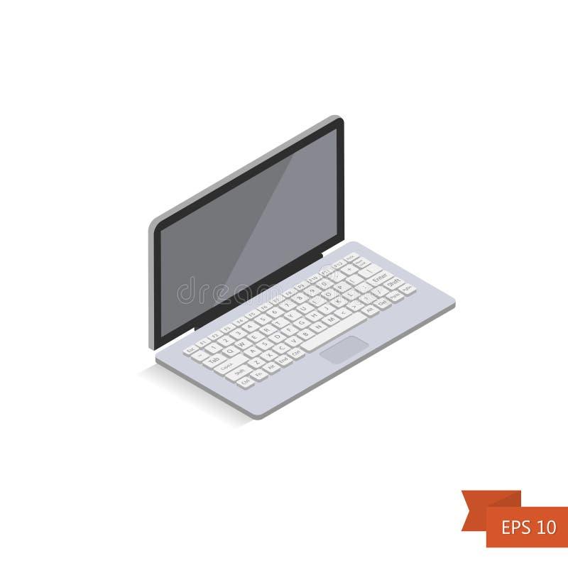 Ordenador portátil isométrico en el fondo blanco Vector Ordenador portátil isométrico de la oficina 3d Aislado en blanco ilustración del vector