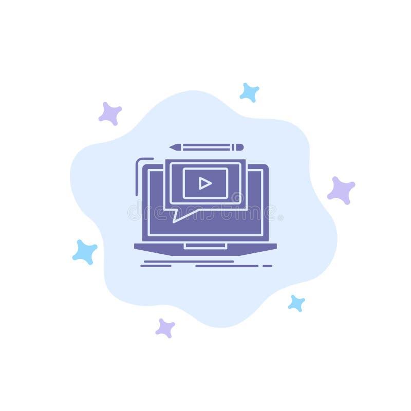 Ordenador portátil, jugador, pantalla, tutorial, icono azul del vídeo en fondo abstracto de la nube libre illustration