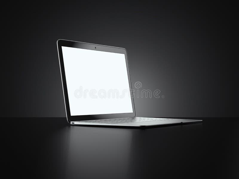Ordenador portátil moderno aislado en fondo negro representación 3d stock de ilustración