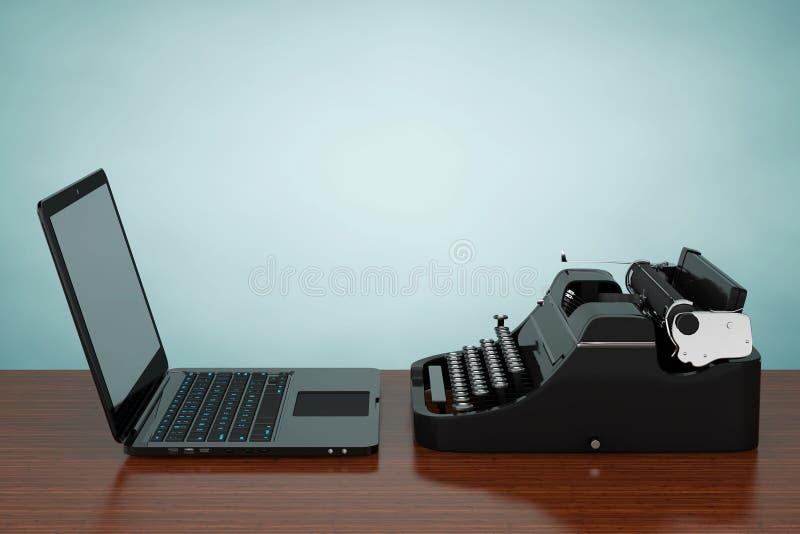 Ordenador portátil moderno con la máquina de escribir antigua representación 3d libre illustration