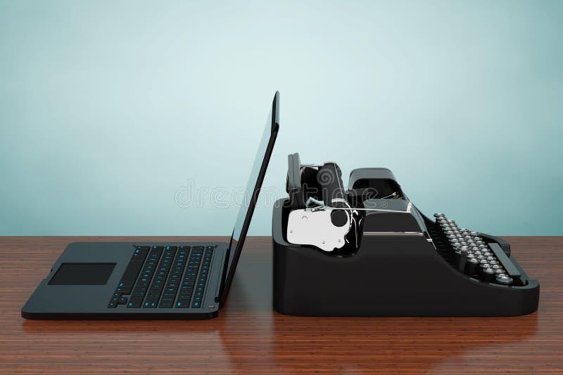Ordenador portátil moderno con la máquina de escribir antigua representación 3d stock de ilustración
