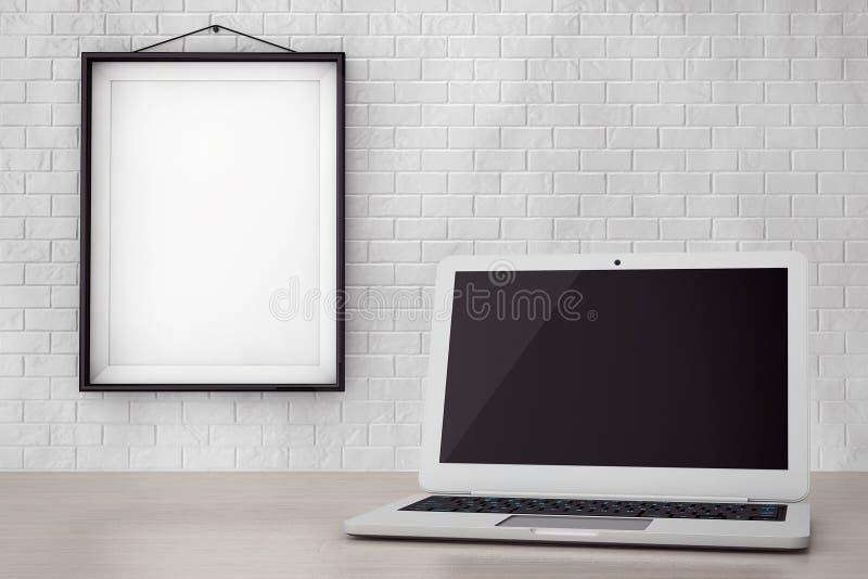 Ordenador portátil moderno delante de la pared de ladrillo con el marco en blanco libre illustration
