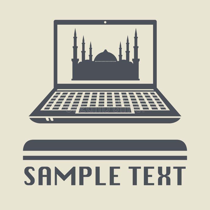 Ordenador portátil o ordenador portátil con el icono o la muestra de la mezquita ilustración del vector
