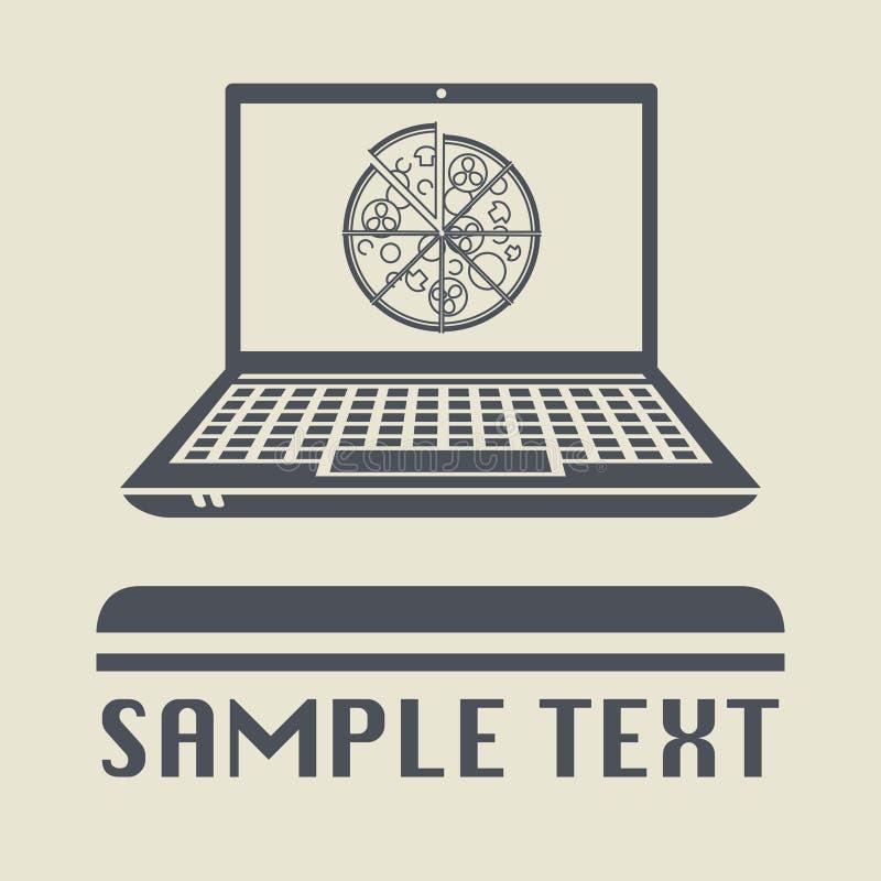 Ordenador portátil o ordenador portátil con el icono o la muestra de la pizza stock de ilustración