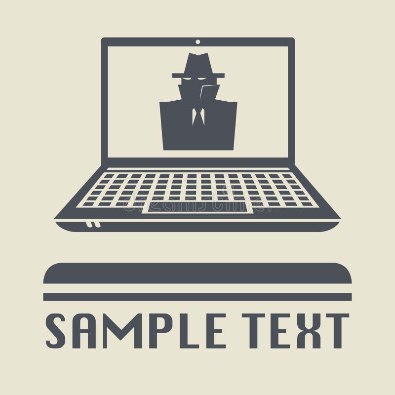 Ordenador portátil o ordenador portátil con el icono o la muestra secreto del espía ilustración del vector