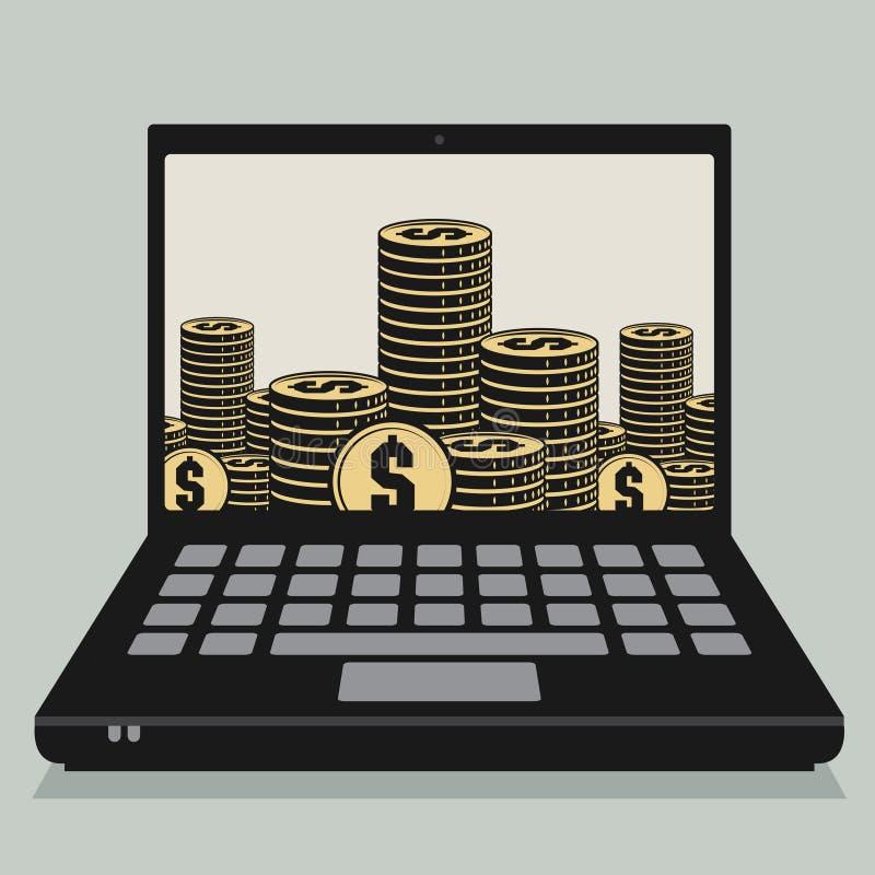 Ordenador portátil o ordenador portátil con las monedas o el efectivo ilustración del vector