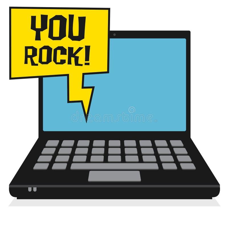 Ordenador portátil o ordenador portátil, concepto del negocio con el texto que usted oscila stock de ilustración