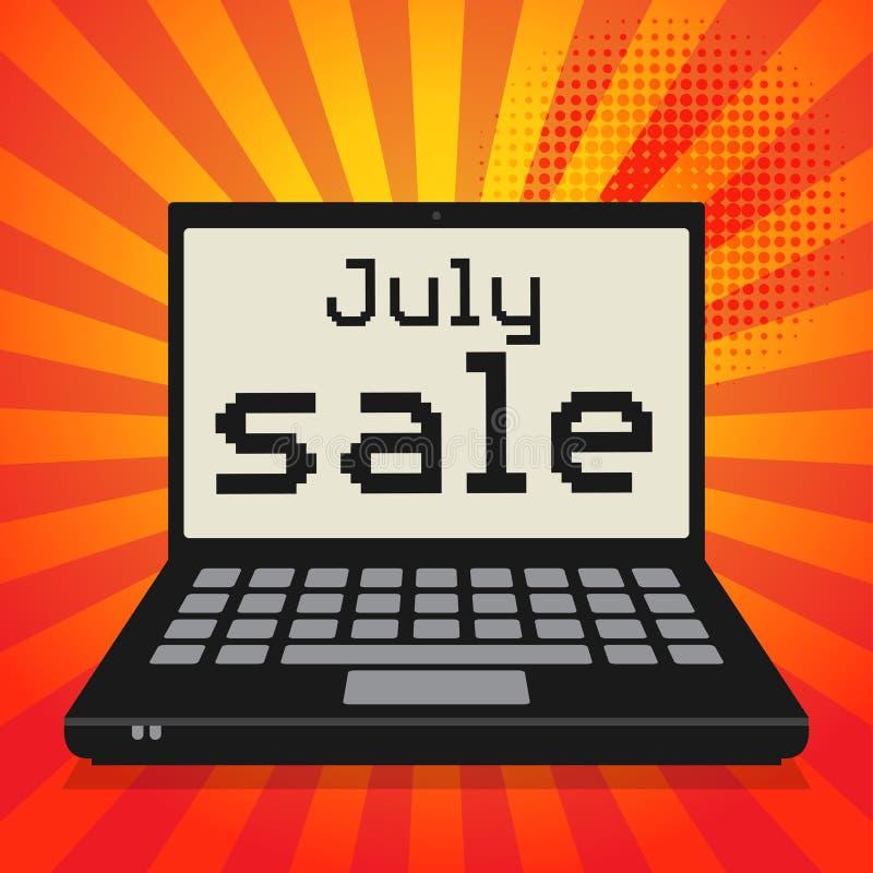 Ordenador portátil o ordenador portátil, concepto del negocio con la sal de julio del texto ilustración del vector