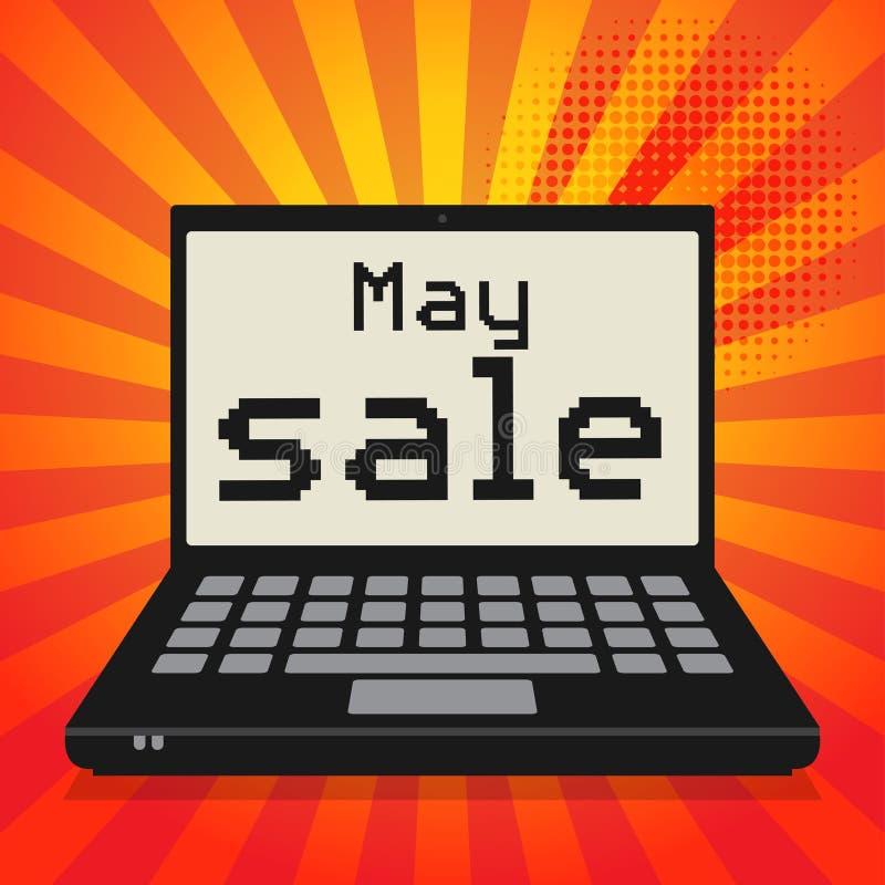 Ordenador portátil o ordenador portátil, concepto del negocio con la venta de mayo del texto libre illustration