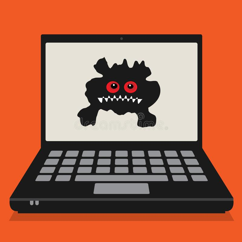 Ordenador portátil o ordenador portátil, concepto del negocio con viru del ordenador ilustración del vector
