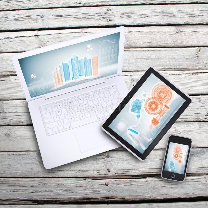 Ordenador portátil, PC de la tableta y smartphone fotos de archivo
