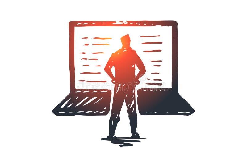 Ordenador, ordenador portátil, persona, trabajo, concepto de la tecnología Vector aislado dibujado mano ilustración del vector