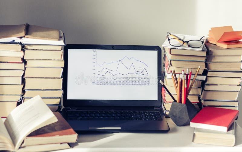 Ordenador portátil, pila de libros, cuadernos y lápices en la tabla blanca, fondo del concepto de la oficina de la educación foto de archivo