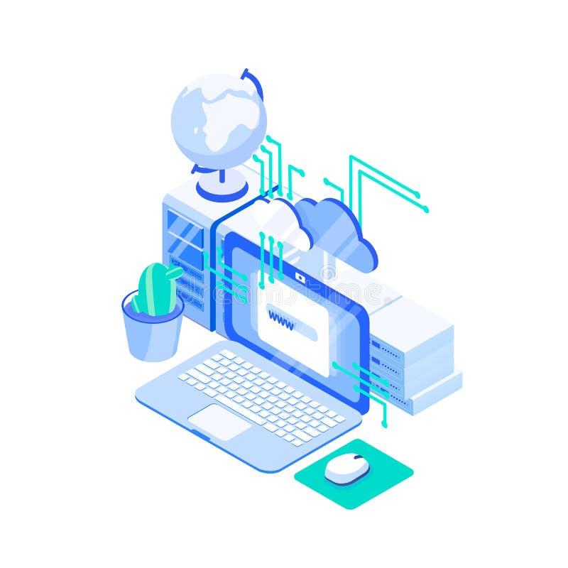 Ordenador portátil, pila de servidores y globo Web o Internet que recibe la tecnología, servicio de asistencia en línea de la pág ilustración del vector