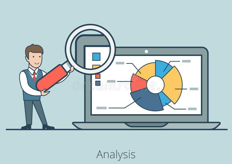 Ordenador portátil plano linear del informe del hombre del análisis de negocio ilustración del vector