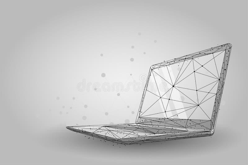 Ordenador portátil polivinílico bajo del wireframe Vector de las líneas y de los puntos del plexo libre illustration