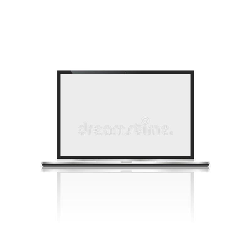 Ordenador portátil realista, aislado en el fondo blanco cuaderno del ordenador con la pantalla vacía espacio en blanco de la copi stock de ilustración