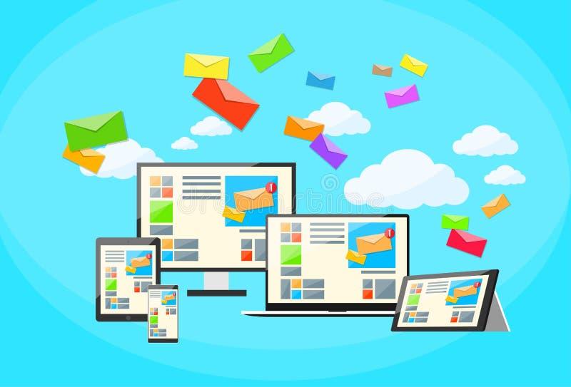 Ordenador portátil responsivo del correo electrónico del márketing de Digitaces del diseño