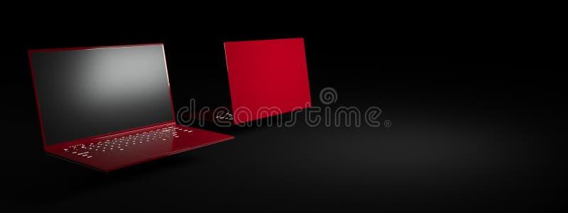 Ordenador portátil rojo en un fondo negro foto de archivo libre de regalías