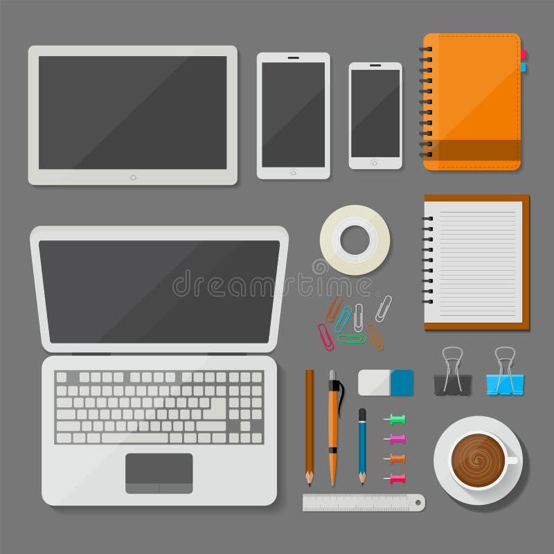 Ordenador portátil, tableta, smartphone, y lugar de trabajo de la visión superior con los artículos de la oficina y diseño del ve stock de ilustración