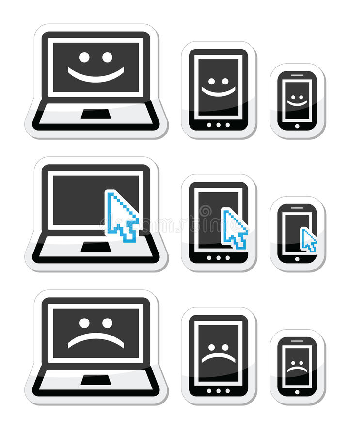 Ordenador portátil, tableta y teléfono con las caras de la flecha del cursor, felices y tristes libre illustration