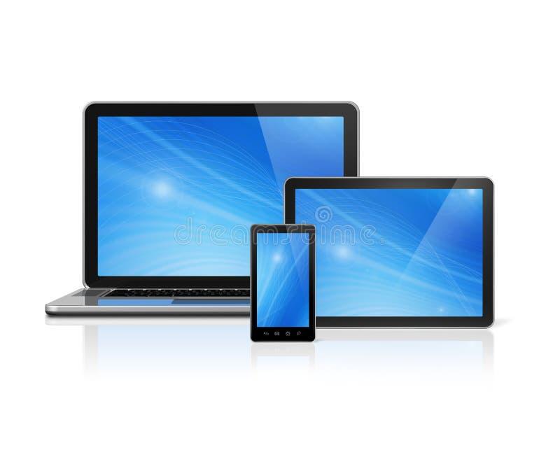 Ordenador portátil, teléfono móvil y PC digital de la tableta stock de ilustración