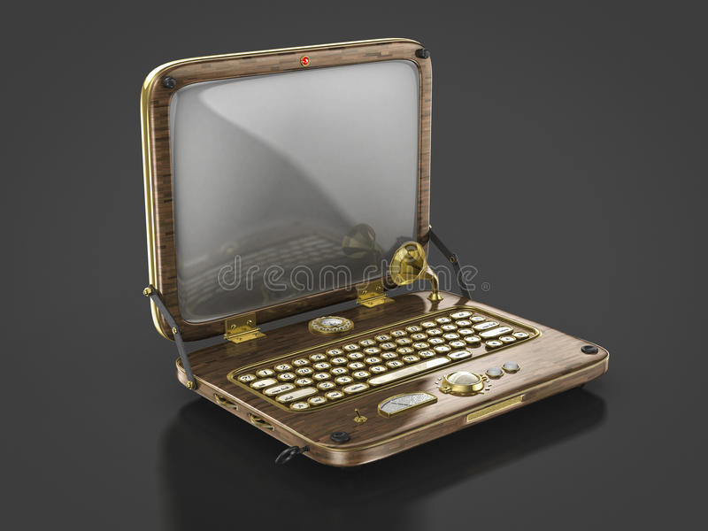 Ordenador portátil viejo del punky del vapor del vintage ilustración del vector